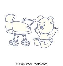 cute bear baby animal with baby cart