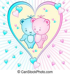 Cute bear cartoons in a heart