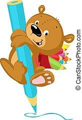 Cute Bear Drawing with Crayon - Funny Vector Illustration Cartoon