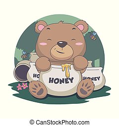 Cute Bear Eat Sweet Honey, with Bee, flower, forest Illustration