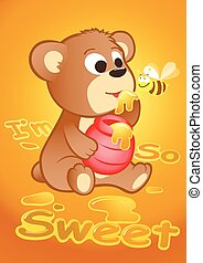 Cute bear eating honey with a bee