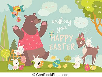 Cute bear, happy rabbits and little deer celebrating Easter