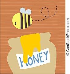 cute bear honey bee