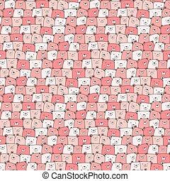 Cute bear seamless pattern background. Vector illustration.