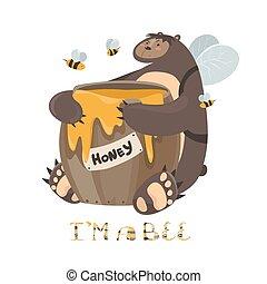 Cute bear with a barrel of honey