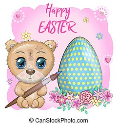 Cute bear with a brush and an ornate egg, phrase Happy Easter. Easter eggs, branches with leaves, flowers