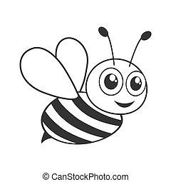 Cute bee black and white shape
