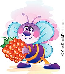 cute bee character carries in his paws a big berry raspberry, vector illustration,
