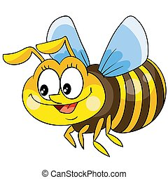 cute bee character, cartoon illustration, isolated object on white background, vector,