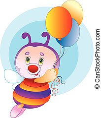 cute bee character flies and holds balloons in his hands, isolated object on white background, vector illustration,