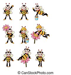 cute bee icons set