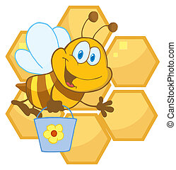 Bee Waving And Carrying A Bucket