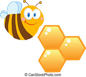 Cute Bee With Bee Hives