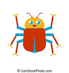 Cute Beetle isolated. funny bug cartoon style. kids character. Childrens style.