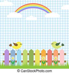 Cute birds and rainbow. Vector card design