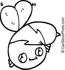 cute black and white cartoon bee