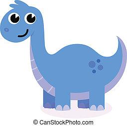 Happy Dino isolated on white. Cartoon vector Illustration