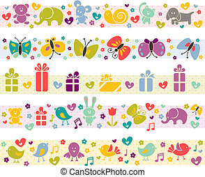 Cute borders with baby icons.