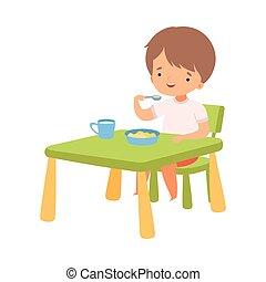 Cute Boy Eating Breakfast at the Table, Preschool Kid Daily Routine Activity Cartoon Vector Illustration
