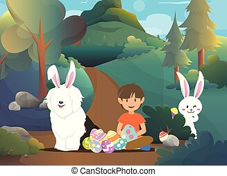 Cute boy with easter bunny