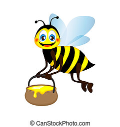funny bee carrying a jar of honey