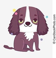 cute brown dog domestic cartoon animal, pets