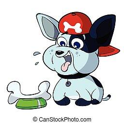 cute bulldog puppy eating
