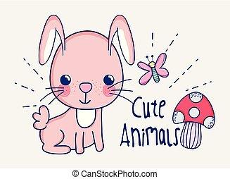 Cute bunny doodle cartoon