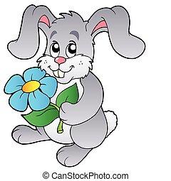 Cute bunny holding flower - vector illustration.