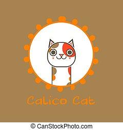 Cute Calico Cat Vector Illustration