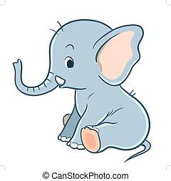 Cute cartoon baby elephant