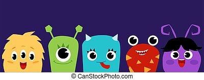 Cute cartoon baby monsters - flat banner on dark purple background