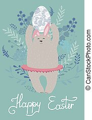 Cute cartoon bear holding Easter egg on a floral background. Happy Easter Vintage Card.