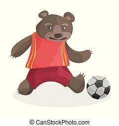 cute cartoon bear playing football