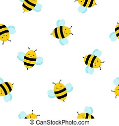 Cute cartoon Bee pattern background . seamless pattern for kids