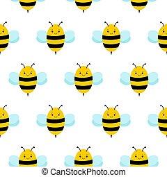 cute cartoon bee seamless pattern. honey vector. bee illustration.