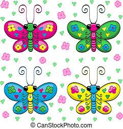 Cute cartoon butterflies