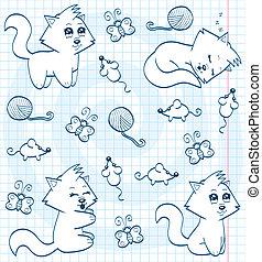 Cute cartoon cats (coloring book)
