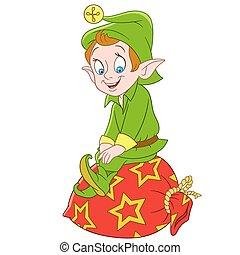 cute cartoon christmas elf