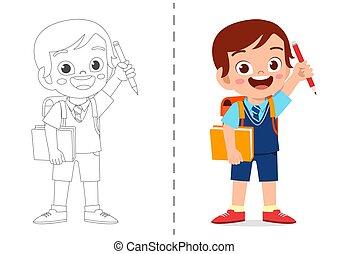 cute cartoon coloring book template for kids