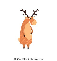 Cute cartoon deer. Vector illustration isolated on white background