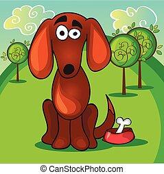 Cute cartoon dog with bone