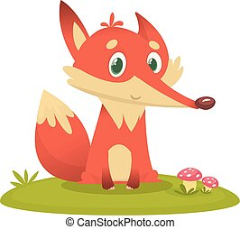 Cute cartoon fox character. Wild forest animal collection
