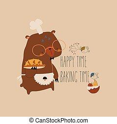 Cute cartoon funny bear with homemade cake