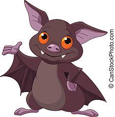 Cute Cartoon Halloween bat presenting