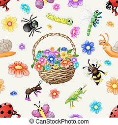 Cute cartoon insects pattern