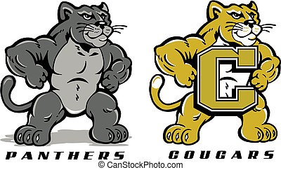 cute cartoon of panther or cougar