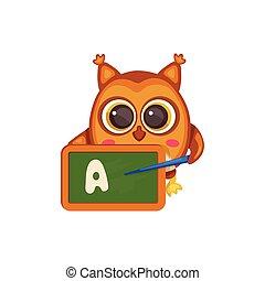 Cute cartoon owl with school teacher chalkboard teaching letter A