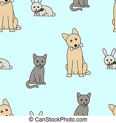 cute cartoon pets seamless pattern, dog, cat and rabbit with food in mouth on light blue background, editable vector illustration for print, decoration