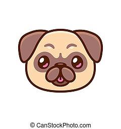 Cute cartoon pug face